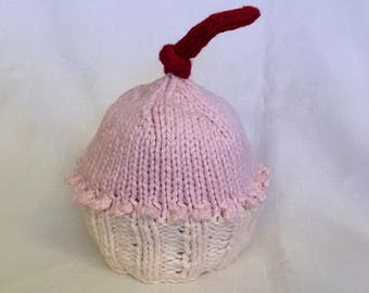 READY TO SHIP Knit Pink and White Organic Cotton Cupcake Hat, great photo prop