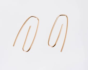 Paper clip gold fill wire hoops