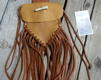 Natural Brown  Buckskin Leather Pouch Bag with Deer Antler Closure and Fringed Lot no. 170603-G