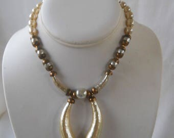 Miriam Haskell Baroque Horn Pearl Necklace 1970s
