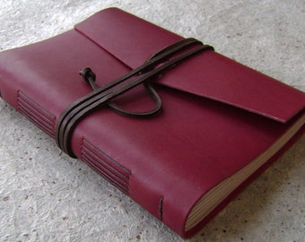 """Rustic leather journal, 5.5""""x 7.5"""", deep red diary, leather sketchbook, travel journal, vintage style journal  (2999)"""