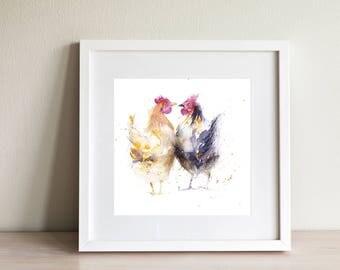 Hens CHICKENS wall art, home decor, nursery art, wildlife animal art, hand signed, illustration, animal art, gift idea, signed print, birds