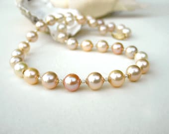 Pearl Necklace | Multi Color Ivory Pink Champagne 8.5 - 9mm Freshwater Pearls | White Seed Pearl | 14k Gold Filled Filigree Clasp | 16 inch