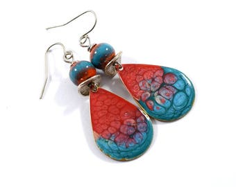 Red and Turquoise Handmade Earrings, Enameled Earrings, Antique Silver Earrings, Teardrop Earrings, Artisan Earrings, Silver, OOAK, AE168