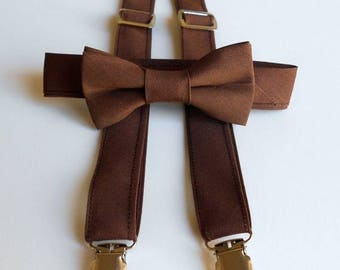 Brown Bowtie and Suspenders Set - Infant, Toddler, Boy         2 weeks before shipping