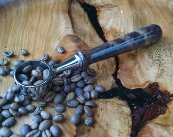 Walnut Wood and Chrome Coffee Scoop with Hand Turned Wood Handle - Wood Coffee Scoop - Wood Loose-Leaf Tea Scoop - Sunset Turnings
