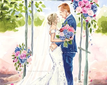 Bridal Portrait - Wedding Illustration Bride Groom Bridesmaid Engagement Couple Watercolor Sketch Painting Drawing Save the Date