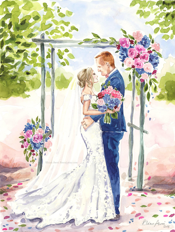 how to draw a wedding scene