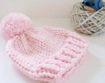 Newborn Knit Baby Hat/Newborn Beanie/Pink Newborn Hat/Expectant Mom Gift