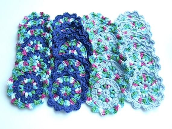 Crocheted large flowers set of 24 appliqué , 4 inch diameter each, multi colors