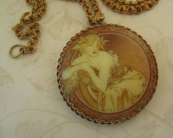 Vintage Art Nouveau Lady In Gown Necklace With 1930s  Ornate Filigree