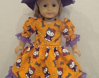 "ON SALE 18"" doll clothes, Fits 18"" American girl doll,Hello Kitty, Halloween, witch hat,purple,ag doll, am girl, american girl,dress,READYTO"