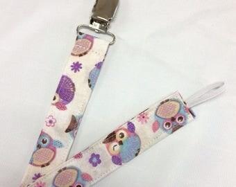 On Sale Purple Owls Paci Binky Clip