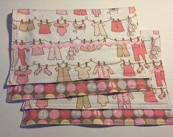 Burp cloths, baby burp cloths, girl baby gift, girl burp cloths, flannel burp cloths, baby shower gift, baby girl