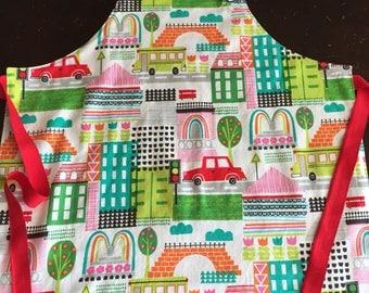 Apron, child apron, toddler apron, art smock, reversible apron, Dr Suess fabric, alphabet fabric, toddler gift, cooking apron