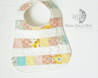 Moondancerbebe patchwork bib for baby, pastel cotton with organic bamboo, baby shower gift, baby girl