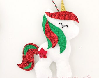 Christmas Unicorn tree dec, handmade. Red, green glitter and soft white with glittery horn and manes. Personalised name star christmas decor