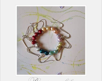 fresh water pearl drop earrings,sterling silver drop earring,fresh water pearls,rainbow fresh water pearl drop earrings,blue,red,pink,white