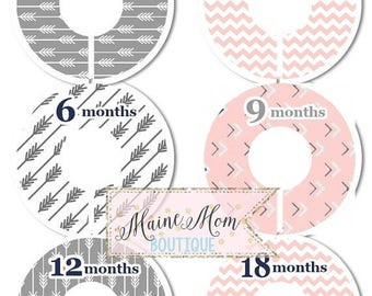 ON SALE 6 PRECUT Baby Closet Dividers Baby Shower Gift Arrow Chevron Tribal Nursery Decor Clothing Baby Clothes Blush Pink Gray No Cutting R