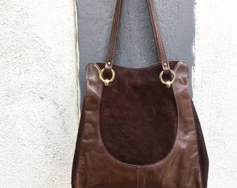 Large vintage chocolate brown suede and leather handbag with gold hardware