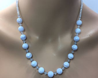 Blue Lace Agate and Natural Blue Chalcedony Necklace in Sterling Silver
