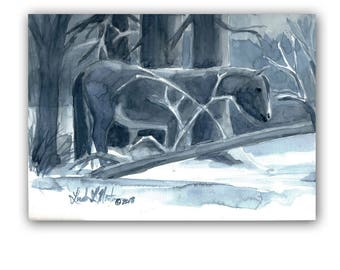 Wild Horse Mare Winter Snow Blues Original Watercolor painting LLMartin Free Shipping USA Kitchen, Country, Den