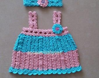 Summer Beach Baby Dress Pattern, Baby headband Pattern, Baby Girl Flower Dress,  Babies Kids Pattern, Crochet Pattern, Crochet  Pattern