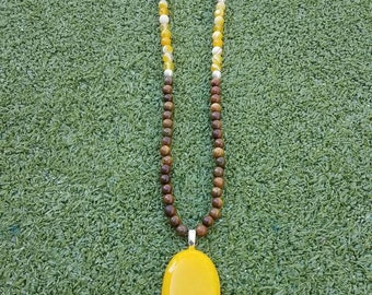 Long Yellow Glass & Wood Bead Necklace