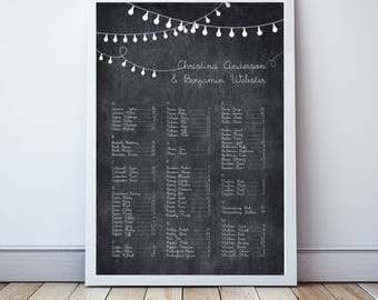 wedding seating chart, party lights, string of lights seating plan, chalkboard seating - PRINTABLE - seating assignment, seating arrangement