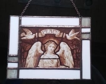 Angel of Peace #5 Wall Hanging with stained glass border and metal chain