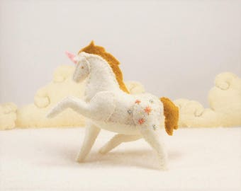 Miniature Stuffed Unicorn - Gold Sparkle - Tiny embroidered Felt Stuffed Animal