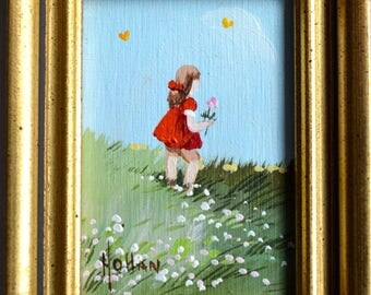 Vintage Miniature Oil on Canvas Painting - Vivian Hollan Swain - Little Girl Picking Flowers