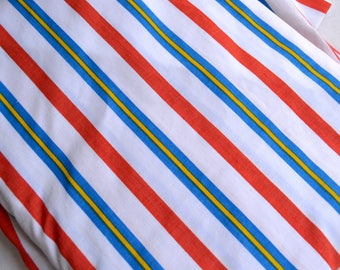 Vintage Bed Sheet - Red Blue Yellow Stripe - Twin Flat