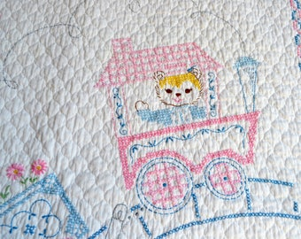 Vintage Baby Quilt Blanket - Teddy Bear Choo Choo Train in Pink and Blue - Hand Embroidered Heirloom