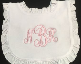 Personalized White Bib Monogram Ruffle Bib New Baby Girl Gift White Bib Baby Boy Shower Gift
