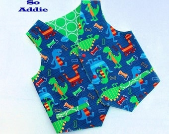Dino Dudes Boys Vest Size 7 Dinosaur Birthday Party Rides Ready to Ship Readymade Christmas Gift