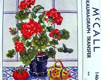 Sale:) UNUSED 1949  McCall Kaumagraph Transfer Pattern 1460 *  Geraniums - A Colorful Still-Life Picture in Cross-Stitch   * UNCUT *