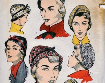 Sale:) UNCUT * 1950's Advance  Pattern 5645 - -  Women's and Misses' High Fashion Hats and Beret   -- Head Size 21