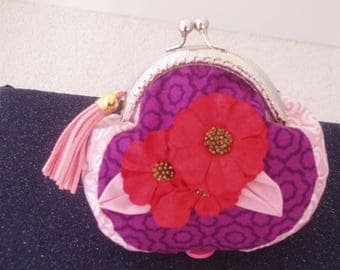 Coin Purse, Purse, Wallet,Pocketbook, Pouch quality cotton,handcrafted,OOAK, Visions in Purple and Pink