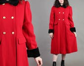 vintage 80s PETER PAN COLLAR military wool pea coat size small S medium M / jacket fitted trench dolly red black 80s 1980s