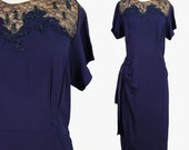 vintage 40s ILLUSION LACE beaded crepe wwii dress size extra large XL / volup blue grecian wiggle cocktail pinup dress 1940s