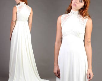 vintage 70s VICTORIAN sheer crochet lace WEDDING gown hippie boho dress train 70s 1970s extra small small XS S