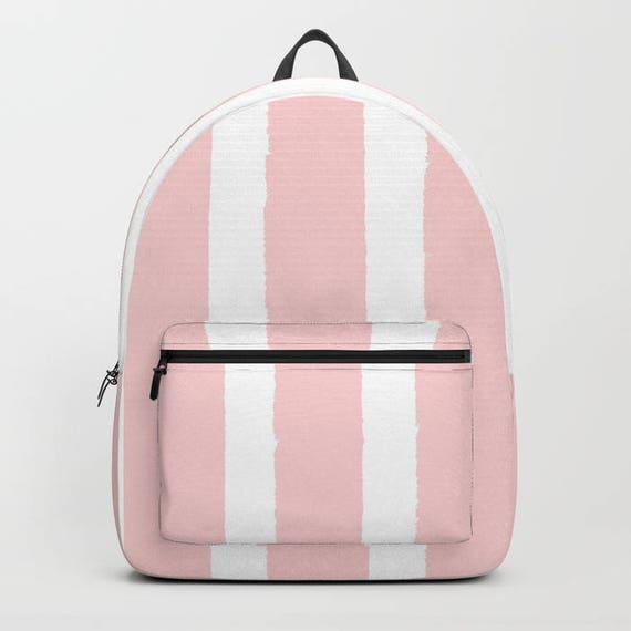 Blush Pink and White Stripe Backpack bookbag Rose backpack Pink White bookbag Kids backpack backpack Modern school bag Striped backpack