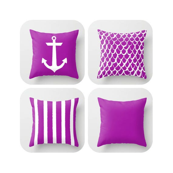 OUTDOOR Throw Pillow . Purple Mermaid Pillow . Coastal Patio Cushion . Anchor Pillow . Stripe Pillow . 16 18 20 inch . Violet Lumbar Pillow