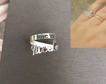 Minimalist Name Ring, Personalized Wrap Around Hug Ring, Double Ring Stackable, Custom Made Name Ring, Sterling Silver or Gold, Dainty