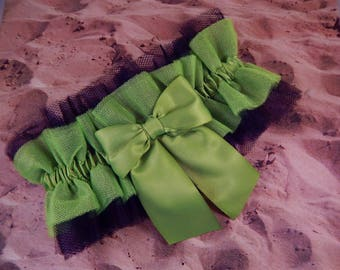 Lime Green Black Tulle Lime Satin Ribbon Bridal Wedding Garter Set Toss