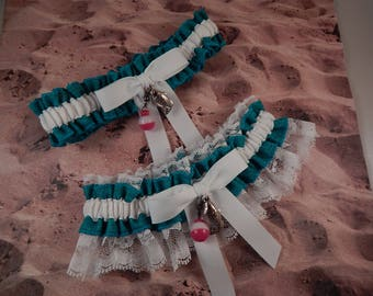 Fishing Teal Turquoise Blue Linen Look White Twill White Lace Fish Bobber Charm Wedding Bridal Garter Toss Set