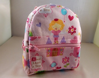 Mini backpack Child School Pretend Play Back Pack Pink Princess Print Ready to ship Accessories Pencil Bag Set