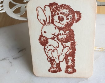 Teddy Bear Bunny Easter Gift Tags..Party Favor Tags.. Chickie ..Easter Gift Tags....Set of 6