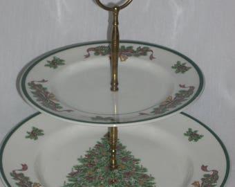 Johnson Brothers Victorian Christmas Two Tier Tidbit Tray